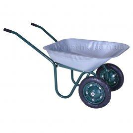 Тачка садовая «КРОК» двухколесная 70 л/120 кг оцинкованная